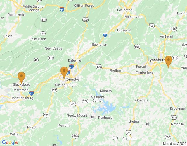 Map of Blacksburg